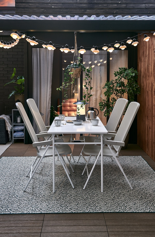 """TORPARÖ Table, outdoor, white/foldable, 51 1/8x29 1/8 """""""