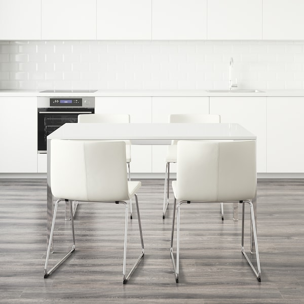 """TORSBY / BERNHARD Table and 4 chairs, high gloss white/Kavat white, 53 1/8 """""""
