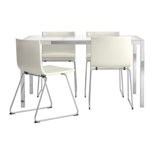 modern ikea white dining table and 4 chairs