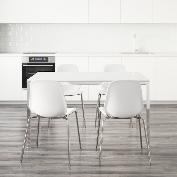 """TORSBY / LEIFARNE Table and 4 chairs, high gloss white/white, 53 1/8 """""""