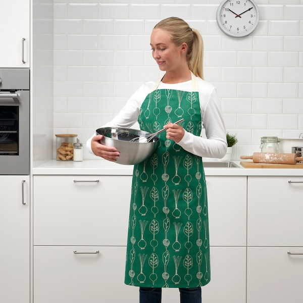 """TORVFLY Apron, patterned/green, 27x35 """""""