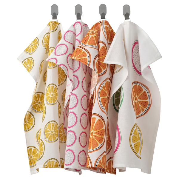 """TORVFLY Dish towel, patterned/orange, 18x24 """""""
