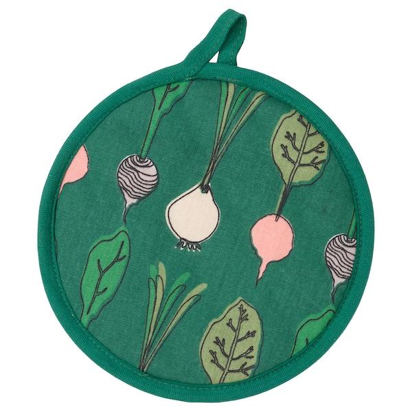 TORVFLY Pot holder, patterned/dark green
