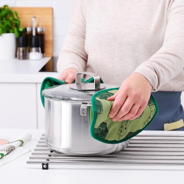 TORVFLY Pot holder, patterned/light green