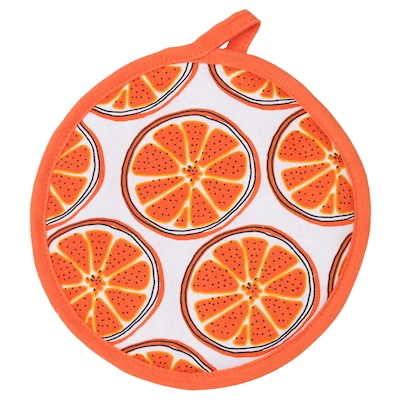 TORVFLY Pot holder, patterned/orange