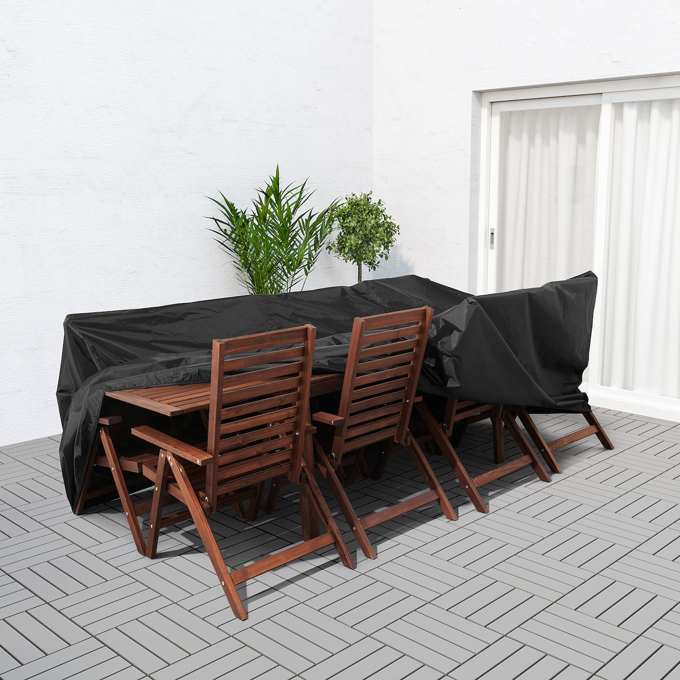 TOSTERÖ Cover for outdoor furniture - dining set/black 122 122/122x5122 12/12 ""