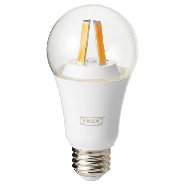 TRÅDFRI LED bulb E26 806 lumen, wireless dimmable white spectrum/globe clear