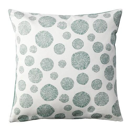TRÅDPALM Cushion cover, white/green white/green 20x20