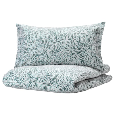 TRÄDKRASSULA Duvet cover and pillowcase(s), white/blue, Full/Queen (Double/Queen)
