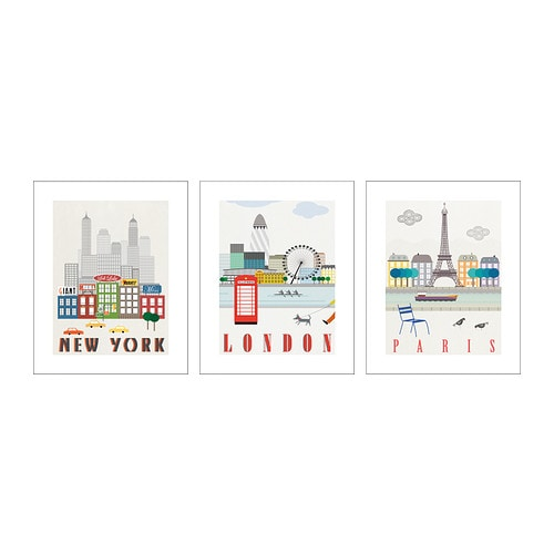 ikea poster set of 3 16x20 new york london paris new ebay. Black Bedroom Furniture Sets. Home Design Ideas
