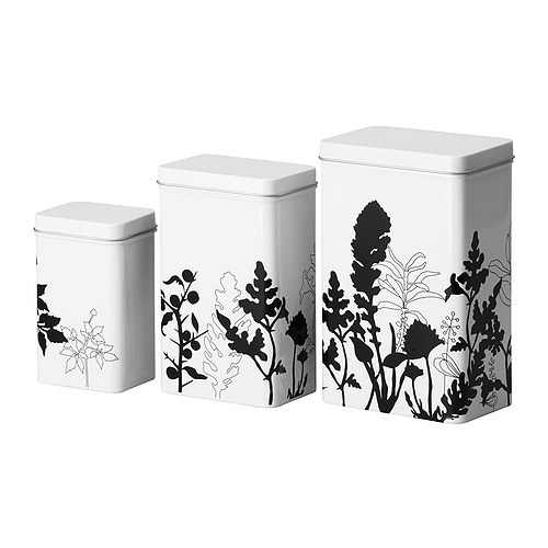 "TRIPP Storage tin with lid, set of 3, white, black Length: 5 "" Width: 3 "" Height: 7 ""  Length: 12 cm Width: 8 cm Height: 18 cm"