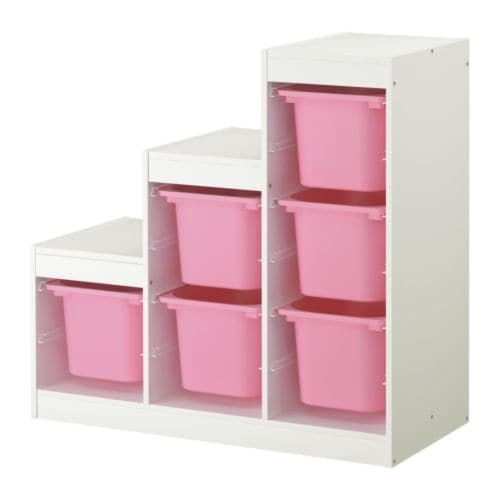 TROFAST Storage combination, white, pink white/pink 39x17 3/8x37