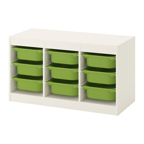 TROFAST   Storage Combination With Boxes, White, Green