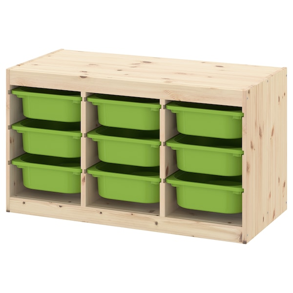 "TROFAST storage combination with boxes light white stained pine/green 37 "" 17 3/8 "" 20 1/2 """