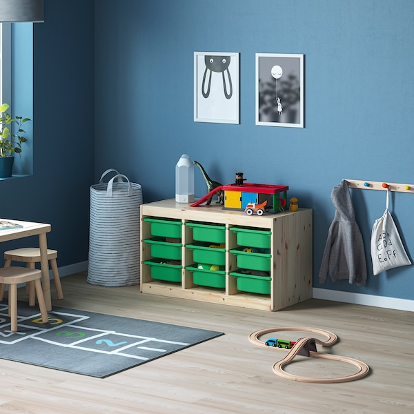 """TROFAST Storage combination with boxes, light white stained pine/green, 36 5/8x17 3/8x20 1/2 """""""