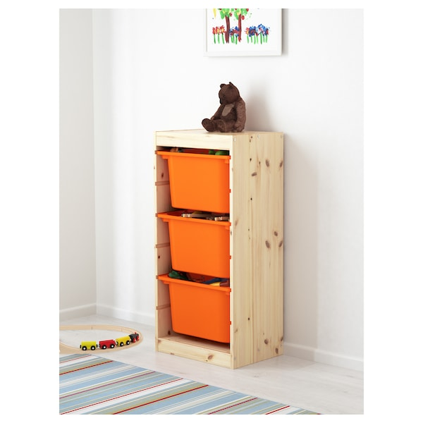 Storage Combination With Bo Trofast Pine Light White Stained Orange