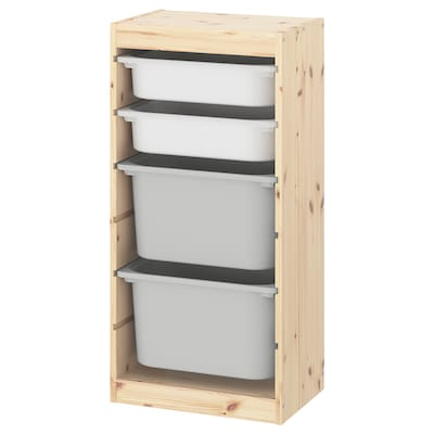 TROFAST Storage combination with boxes, light white stained pine white/gray, 17 3/8x11 3/4x35 7/8 ""