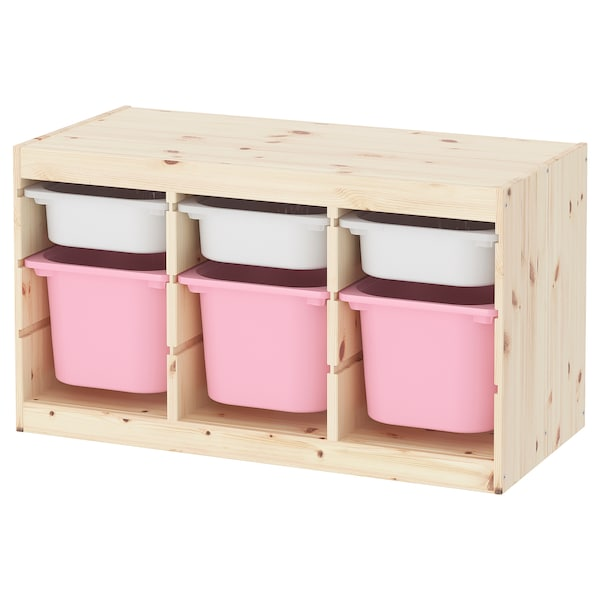 Storage Combination With Bo Trofast Pine Light White Stained Pink