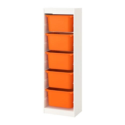 TROFAST Storage combination with boxes, white, orange white/orange 18x11 ¾x57