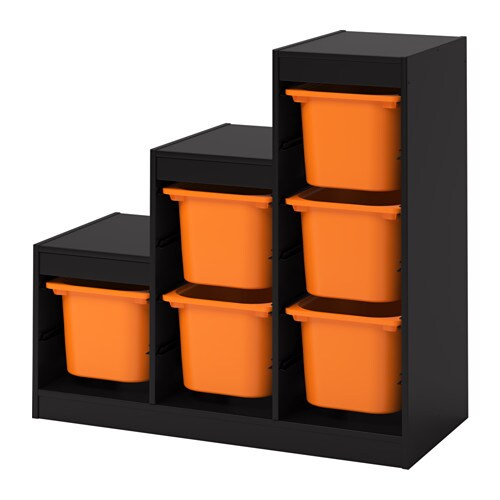 TROFAST Storage combination with boxes, black, orange black/orange 39x17 3/8x37