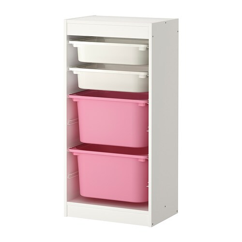 trofast storage combination with boxes white pink ikea. Black Bedroom Furniture Sets. Home Design Ideas