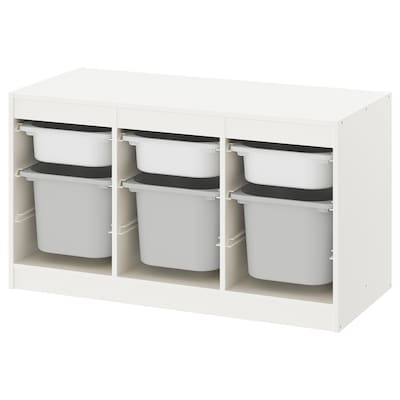 TROFAST Storage combination with boxes, white/gray, 39x17 3/8x22 ""