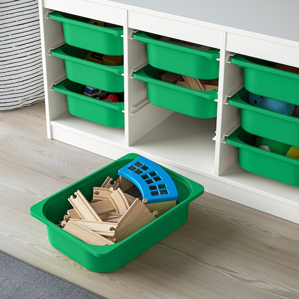"""TROFAST Storage combination with boxes, white/green, 39x17 3/8x22 """""""