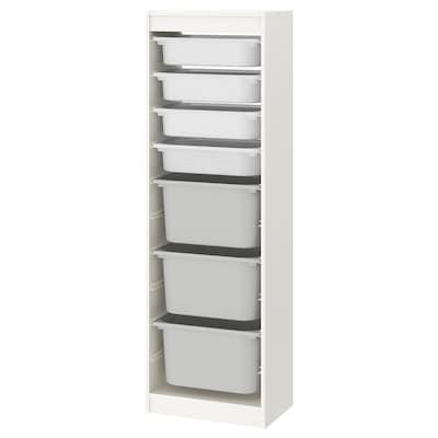 "TROFAST Storage combination with boxes, white/white gray, 18 1/8x11 3/4x57 1/8 """