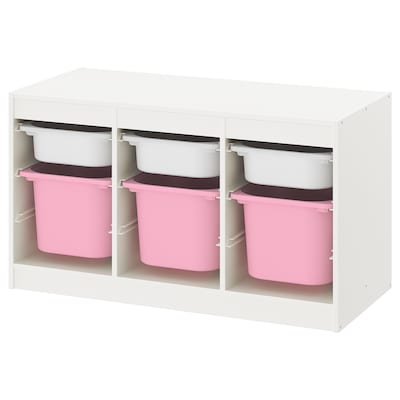 TROFAST Storage combination with boxes, white white/pink, 39x17 3/8x22 ""
