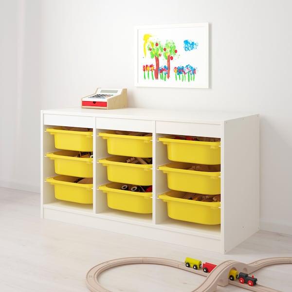 "TROFAST Storage combination with boxes, white/yellow, 39x17 3/8x22 """