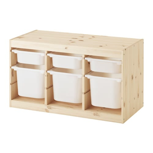 Trofast Storage Combination With Boxes Light White Stained Pine