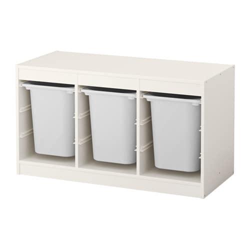 TROFAST Storage combination with boxes, white, white white/white 39x17 3/8x22