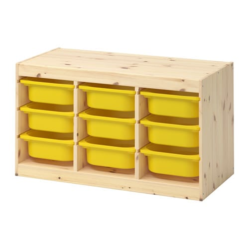 TROFAST Storage combination with boxes, light white stained pine, yellow light white stained pine/yellow 37x17 3/8x20 1/2