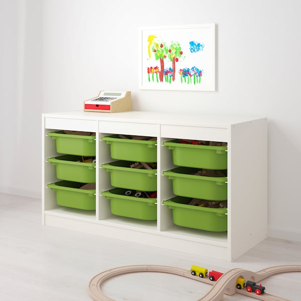 """TROFAST storage combination with boxes white/green 39 """" 17 3/8 """" 22 """""""