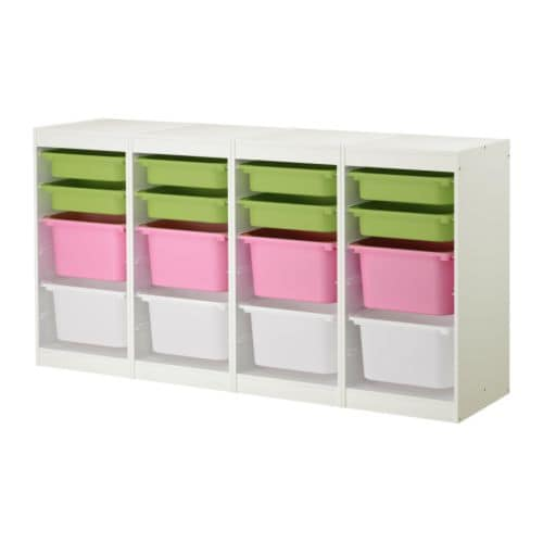 "TROFAST Storage combination, white, multicolor Length: 72 1/2 "" Depth: 11 3/4 "" Height: 37 ""  Length: 184 cm Depth: 30 cm Height: 94 cm"
