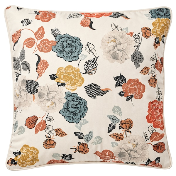 """TROLLMAL Cushion cover, natural/flower patterned, 20x20 """""""