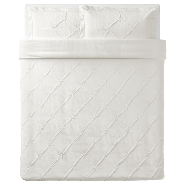 TRUBBTÅG Duvet cover and pillowcase(s), white, Full/Queen (Double/Queen)