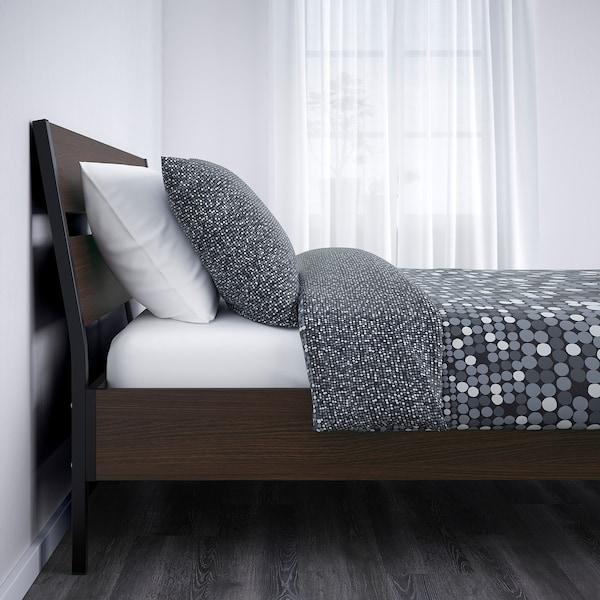 TRYSIL Bed frame, dark brown/Luröy, Queen