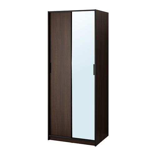 TRYSIL Wardrobe, dark brown, mirror glass dark brown/mirror glass 31 1/4x24 1/8x79 3/8
