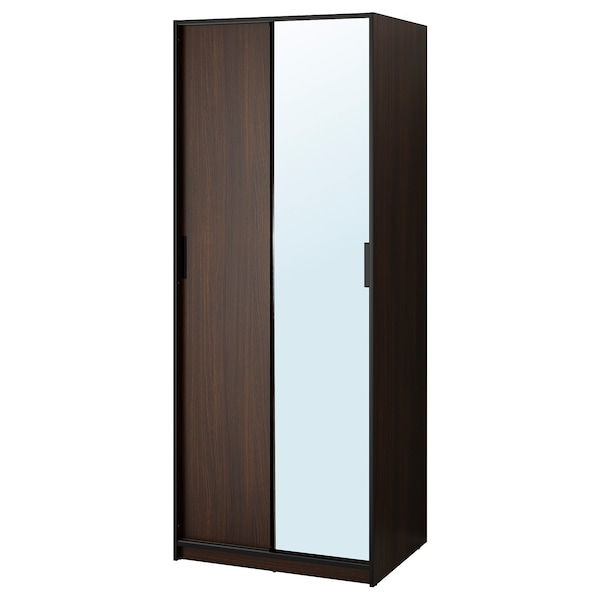"TRYSIL Wardrobe, dark brown/mirror glass, 31 1/4x24 1/8x79 3/8 """
