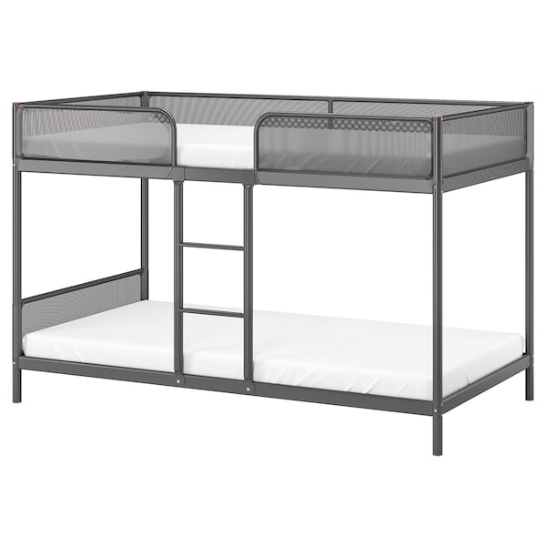 TUFFING Bunk bed frame, dark gray, Twin