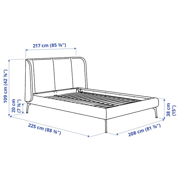 TUFJORD Upholstered bed frame, Gunnared blue, King
