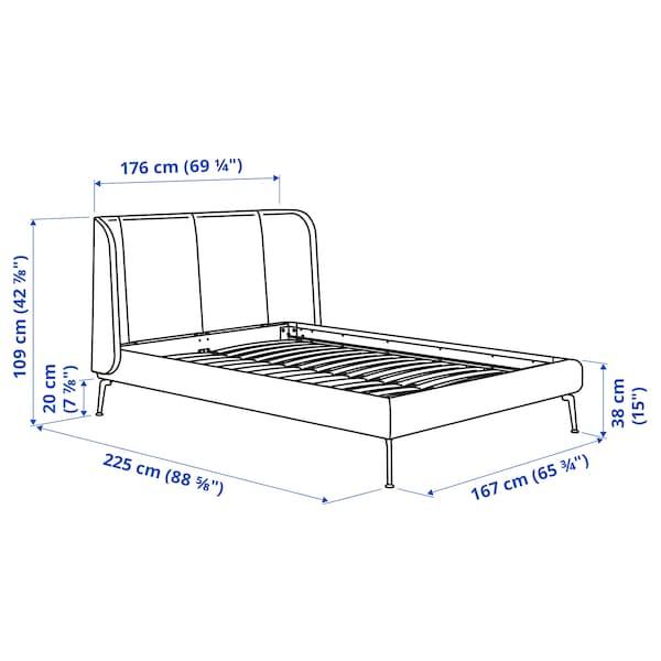 TUFJORD Upholstered bed frame, Gunnared blue, Queen