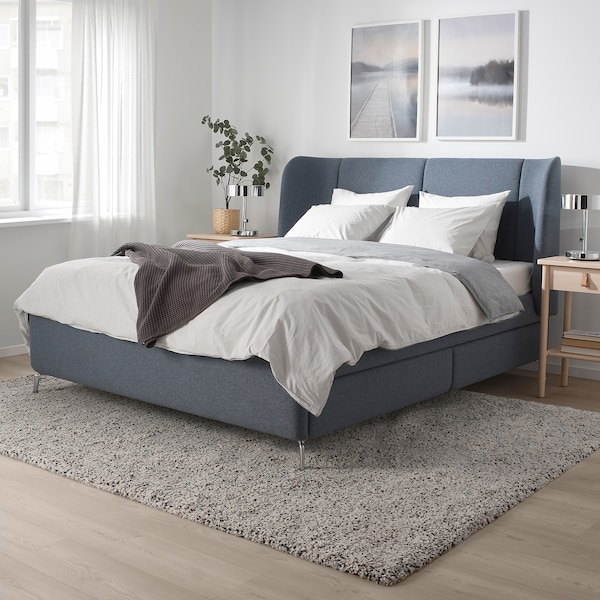 TUFJORD Upholstered storage bed, Gunnared blue, Queen