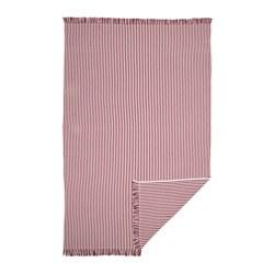TUVALIE - Throw, stripe white, red-brown