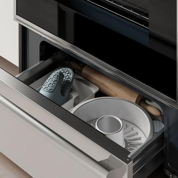 TVÄRSÄKER Range with induction cooktop, Stainless steel
