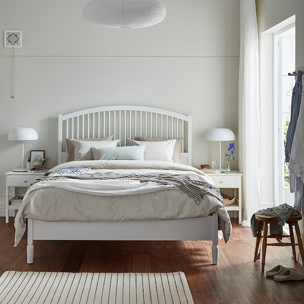TYSSEDAL Bed frame, white/Luröy, Queen
