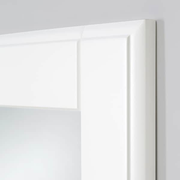 TYSSEDAL Door with hinges, white/mirror glass, 19 1/2x90 3/8 ""