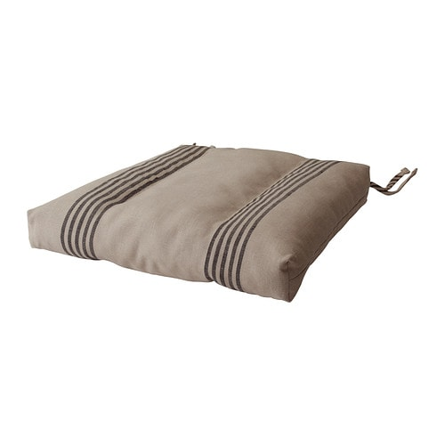 ULLAMAJ Chair cushion IKEA Cover is made of ramie; a hard-wearing and absorbent natural material.  Ties keep the chair pad in place.
