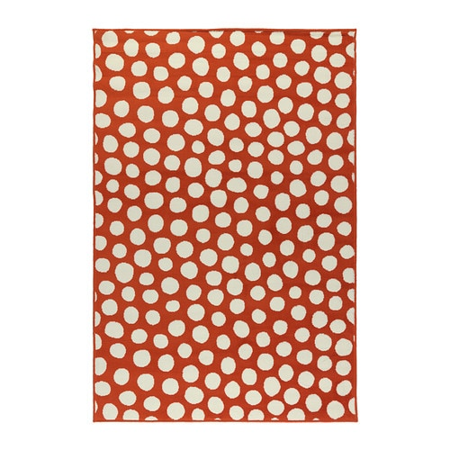 Ikea ULLGUMP Orange/White Polka Dot Low Pile Area Rug